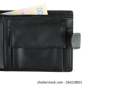 leather wallet black leather on a white background