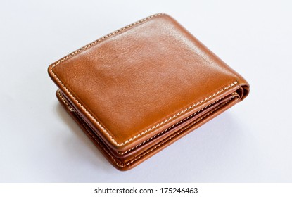 leather wallet brown leather on a white background