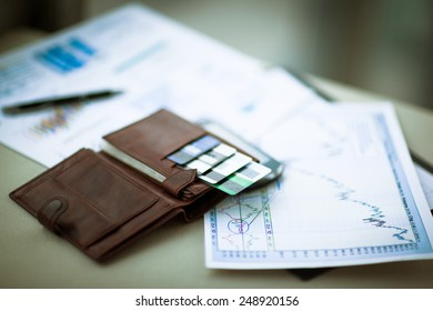 leather wallet with credit and discount cards