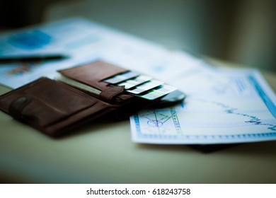 Leather wallet with credit and discount cards the workplace in the office