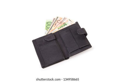 Leather wallet with  euro on white background.