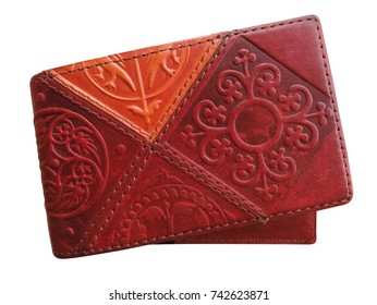 Leather wallet with Kazakh national ornament isolated on white. Clipping Path included.