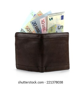 leather wallet with money isolated