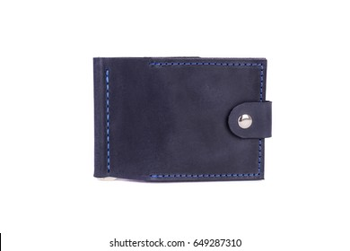 Leather wallet on a white background, isolated