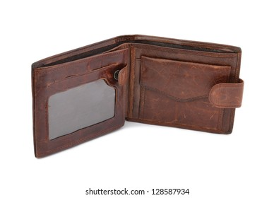 leather wallet open against white background
