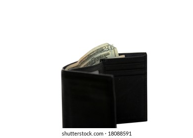 "leather wallet stuffed with cash ""isolated on white"""
