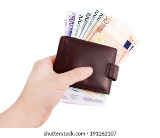 leather wallets in hand and European Currency, euro ( 50, 100, 500 )