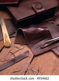leather wallets maker tools still life