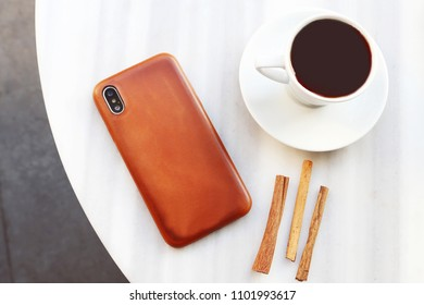 leather watch band and phone case