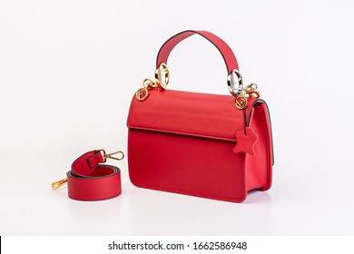 Leather Women's Bag on white background