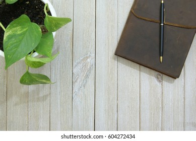 Leather writing journal and pen on a pale slatted wood surface or desk from a top down ariel view perspective and a potted house plant vine in the corner.