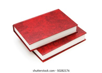 Leather-bound books isolated on the white background