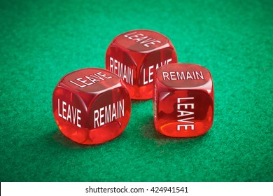 Leave or remain dice concept. United Kingdom European Elections.