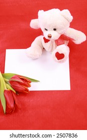 leave a romantic message - paper tulip and red heart