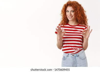 Leave that me. Confident relaxed female coworker professional look assertive calm down friend show okay ok gesture smiling satisfied confident perfect choice made approve decision, white background