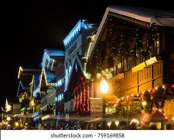 Leavenworth, WA / USA - December 27, 2015: Christmas light in Leavenworth Bavarian-styled village