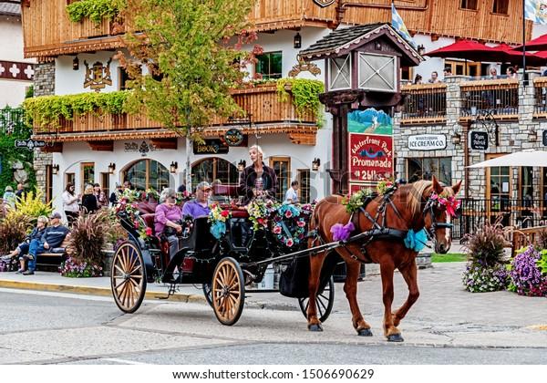 Leavenworth Washington USA 2019 09 13 Street Bavarian Village