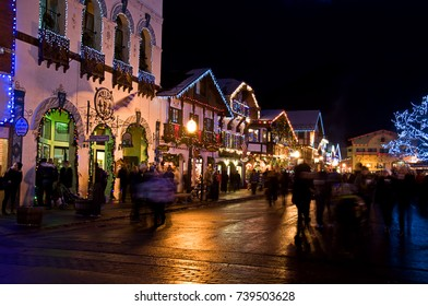 LEAVENWORTH, WA/USA - DECEMBER 21, 2013: This editorial image is a popular holiday attraction to Bavarian village Leavenworth, celebrates its annual holiday street celebration.