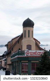 Leavenworth, WA/USA - January 8, 2018.  Entering Leavenworth on Hwy 2 from the north and west Gustav's dominates the town square. The dome on the top stands out for all to see.
