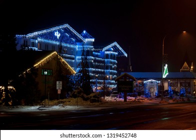 Leavenworth, WA/USA-January 7, 2018. The Barvarian Lodge is located across from the town square in Leavenworth, WA, USA. It is lit up for the holidays.