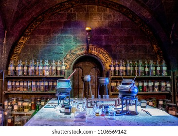 LEAVERDEN, UK - January 23rd 2017; Potions classroom at the Making of Harry Potter Studio