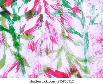 Leaves and abstract brushstrokes fuchsia and green