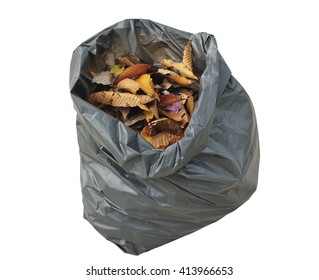leaves in bag garbage on white background