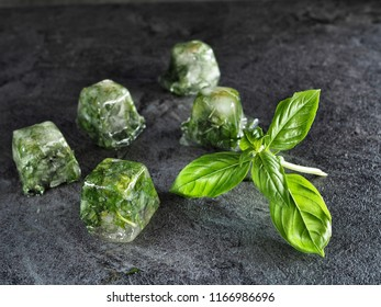Leaves basil in ice cubes with fresh basil on dark background.