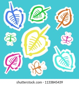 Leaves, butterlies  pattern, doodles,dotted lines, labels pattern. Hand drawn.