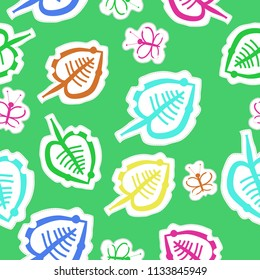 Leaves, butterlies  pattern, doodles,dotted lines, labels seamless  pattern. Hand drawn.