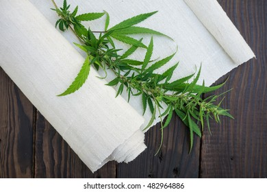 Leaves of cannabis and hemp cloth roll on the dark wooden surfac