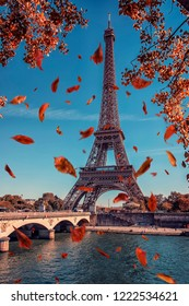 Leaves falling near the Eiffel tower in Paris