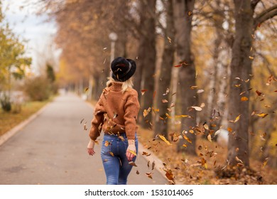leaves in focus. The beautiful young cheerful girl the blonde in a brown warm sweater, a black felt hat, blue jeans goes forward. Autumn leaf fall in the park. horizontal photo. back view.