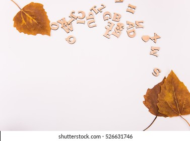 Leaves and letters on white background.
