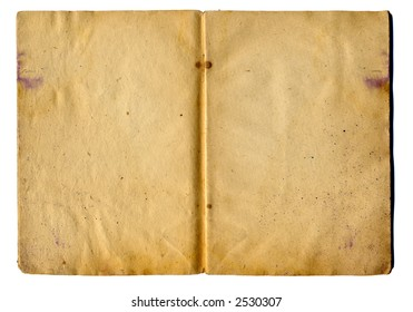 leaves of old school notebook on a white background