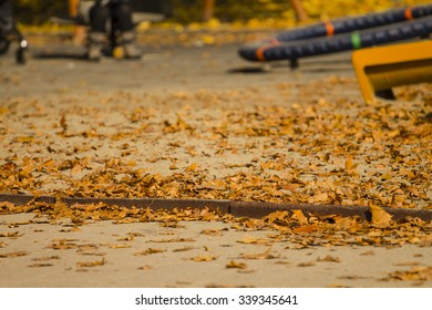Leaves on the playground