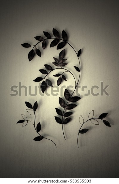 Leaves on the wall,vintage style