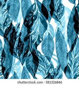 Leaves pattern jungle forest background. Blue trend color foliage pattern seamless. Artistic collage and effect overlay.