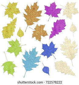 Leaves of trees. Set. Made of colored crumpled paper. Isolated. On a white background