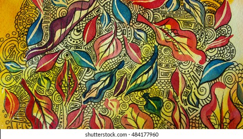 leaves watercolor with graphic ornaments