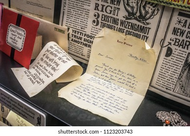 Leavesden, England / United Kingdom - September 18, 2014: Old letters and newspapers at Harry Potter Studio Tour