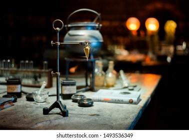 Leavesden, Hertfordshire / United Kingdom - 10/1/2018: Warner Bros. Studio Tour London, The Making of Harry Potter, prop, set harry potter movie, potions class at hogwarts, Felix Felicis, lucky potion