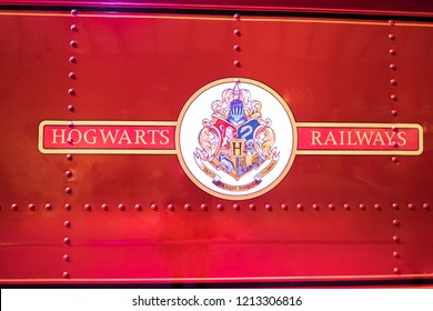Leavesden, London - August 10 2018:  Detail of the Hogwarts express red train  from Harry Potter film in the Warner Brothers Studio tour 'The making of Harry Potter'.
