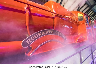 Leavesden, London - August 10 2018:  steam around Hogwarts express red train from Harry Potter film in the Warner Brothers Studio tour 'The making of Harry Potter'