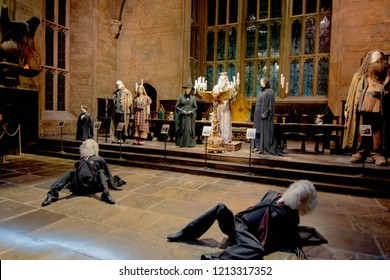 Leavesden, London - August 10 2018:  inside the great hall, decorated like Harry Potter and the goblet of fire film in the Warner Brothers Studio tour 'The making of Harry Potter'.