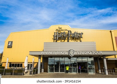 Leavesden, London - March 3 2016: The entrance to the Warner Brothers Studio tour 'The making of Harry Potter'. A behind the scenes look at props, costumes and sets from all 8 Harry Potter films.