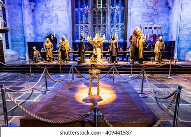 Leavesden, London - March 3 2016: The Hall in the Warner Brothers Studio tour 'The making of Harry Potter'.There are hat and model of actor and actress from Harry Potter film.