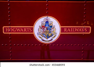 Leavesden, London - March 3 2016:  Logo of Hogwarts railways on train, the Warner Brothers Studio tour 'The making of Harry Potter'.