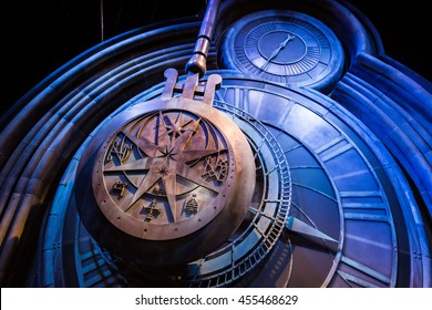 Leavesden, London - March 3 2016: A giant clock in Hogwarts as featured in Harry Potter and the Prisoner of Azkaban, the Warner Brothers Studio tour 'The making of Harry Potter'.