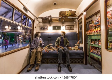 Leavesden, London - March 3 2016: Scene inside Hogwarts express from Harry Potter film  in the Warner Brothers Studio tour 'The making of Harry Potter'.